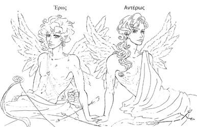 Eros and Anteros by KiraCatwell