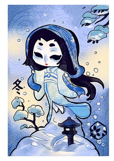 Yokai and season :Yuki onna by audreymolinatti