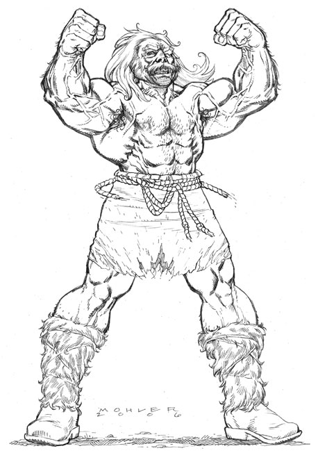 Overmuscled, hairy, barbarian. by JerMohler