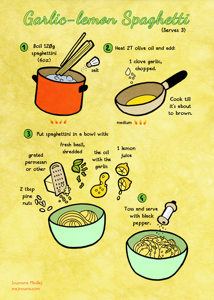Quick food: Garlic-lemon spaghetti by Majnouna
