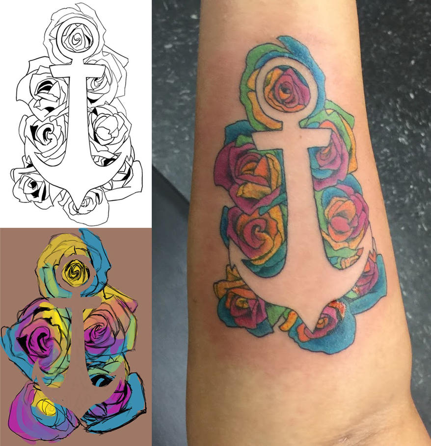 Kaleidoscope rose anchor by tiiria on deviantart for Tattoo shops topeka ks