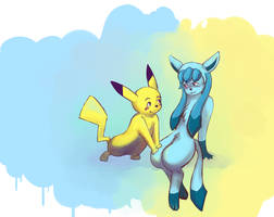 Pikachu x Glaceon by AliseCullen