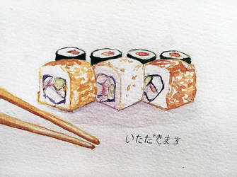 Watercolor sushi by AliseCullen