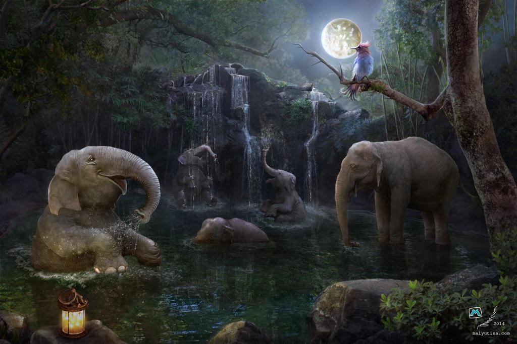 Moon Elephants by samaposebe