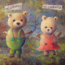 Mother/Daughter Art. The Corduroy Bears