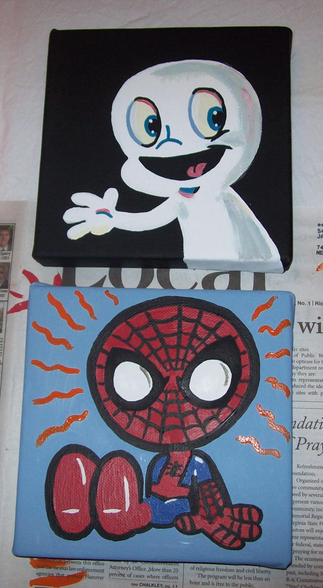 baby spidey and casper by JamieCosley