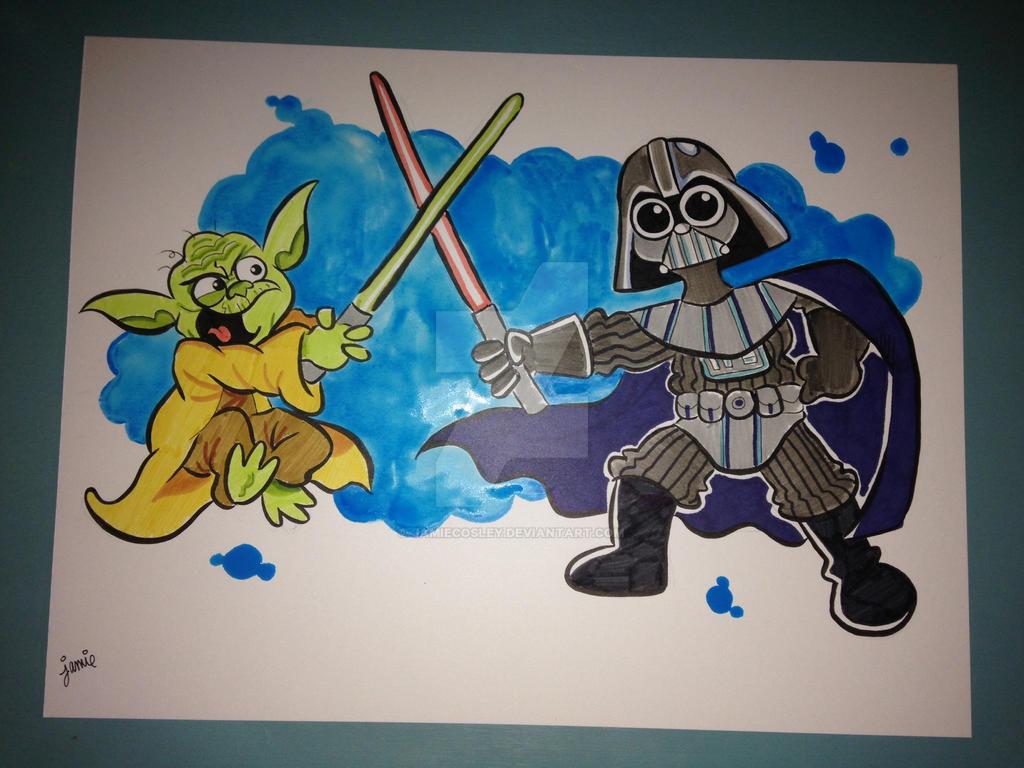 Yoda vs Vader by JamieCosley