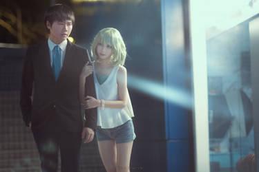 IM@S: Kaede Takagaki and Producer by KiraHokuten