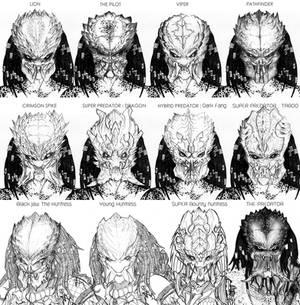 12 Predators face concept
