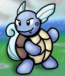 Old Red/Blue GB-style Wartortle (with background) by Mitsukara