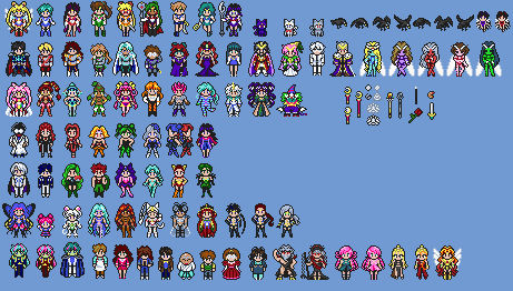 Sailor Moon Serenity and Vitriol character sprites