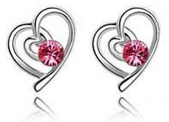 Rose Swirl Heart Earrings by LypticDesigns