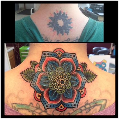 Neo Traditional Flower Tattoo Cover Up By Candicethetattooist On
