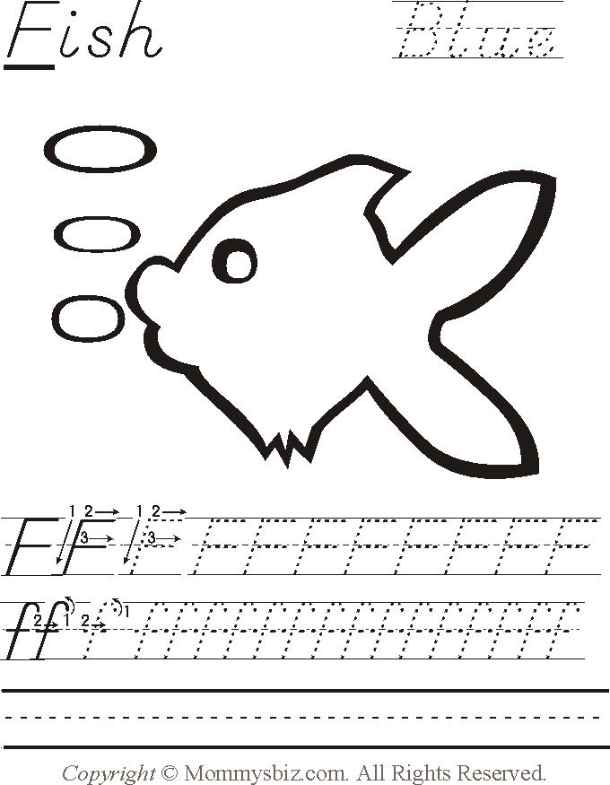 F Is For Fish Worksheet Mommysbiz | F-Fish-Blu...