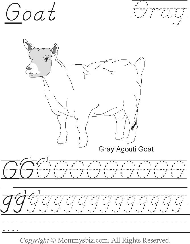 Mommysbiz | G-Goat-Gray Preschool Worksheet by DanaHaynes ...
