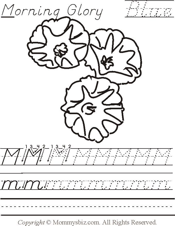 mommysbiz m morningglory blu preschool worksheet by danahaynes on deviantart. Black Bedroom Furniture Sets. Home Design Ideas