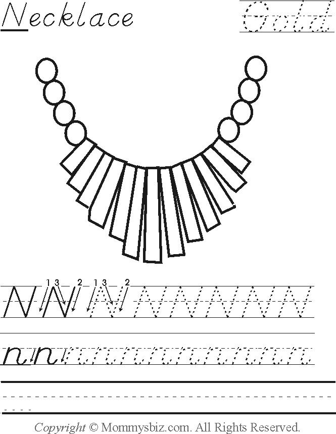 Mommysbiz | N-Necklace-Gold Preschool Worksheet by DanaHaynes on ...