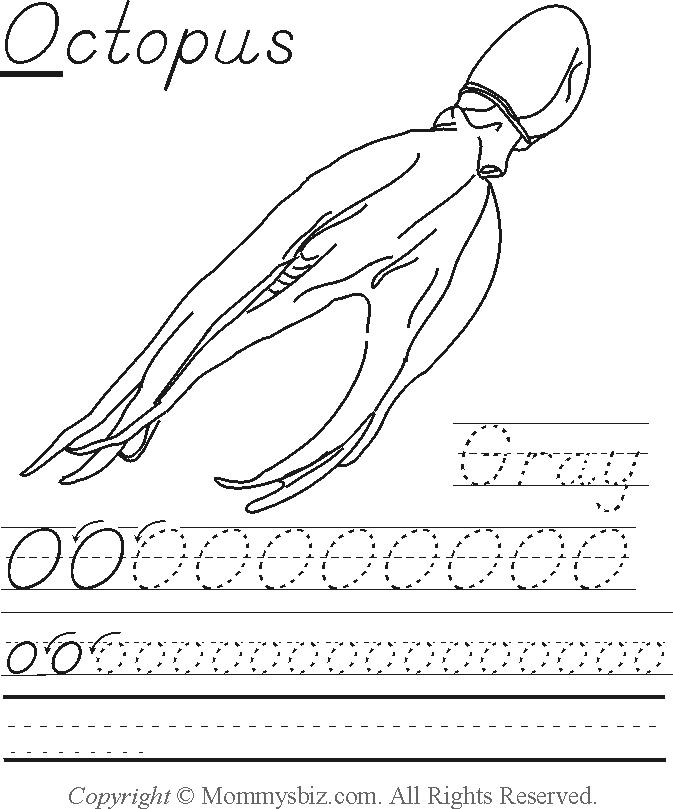 Mommysbiz | O-Octopus-Gray Preschool Worksheet by ...