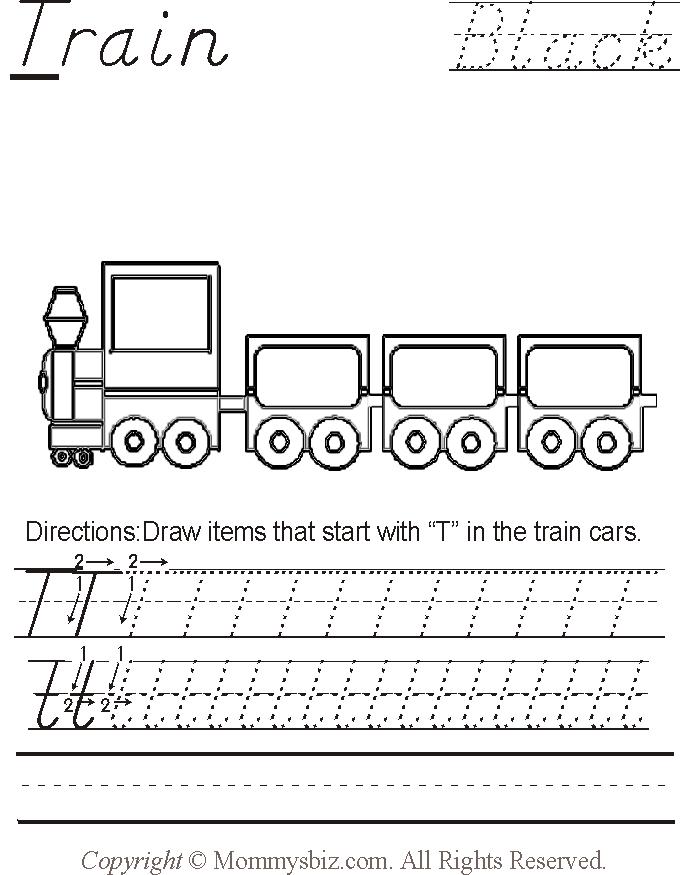 Mommysbiz T Train Black Preschool Worksheet By