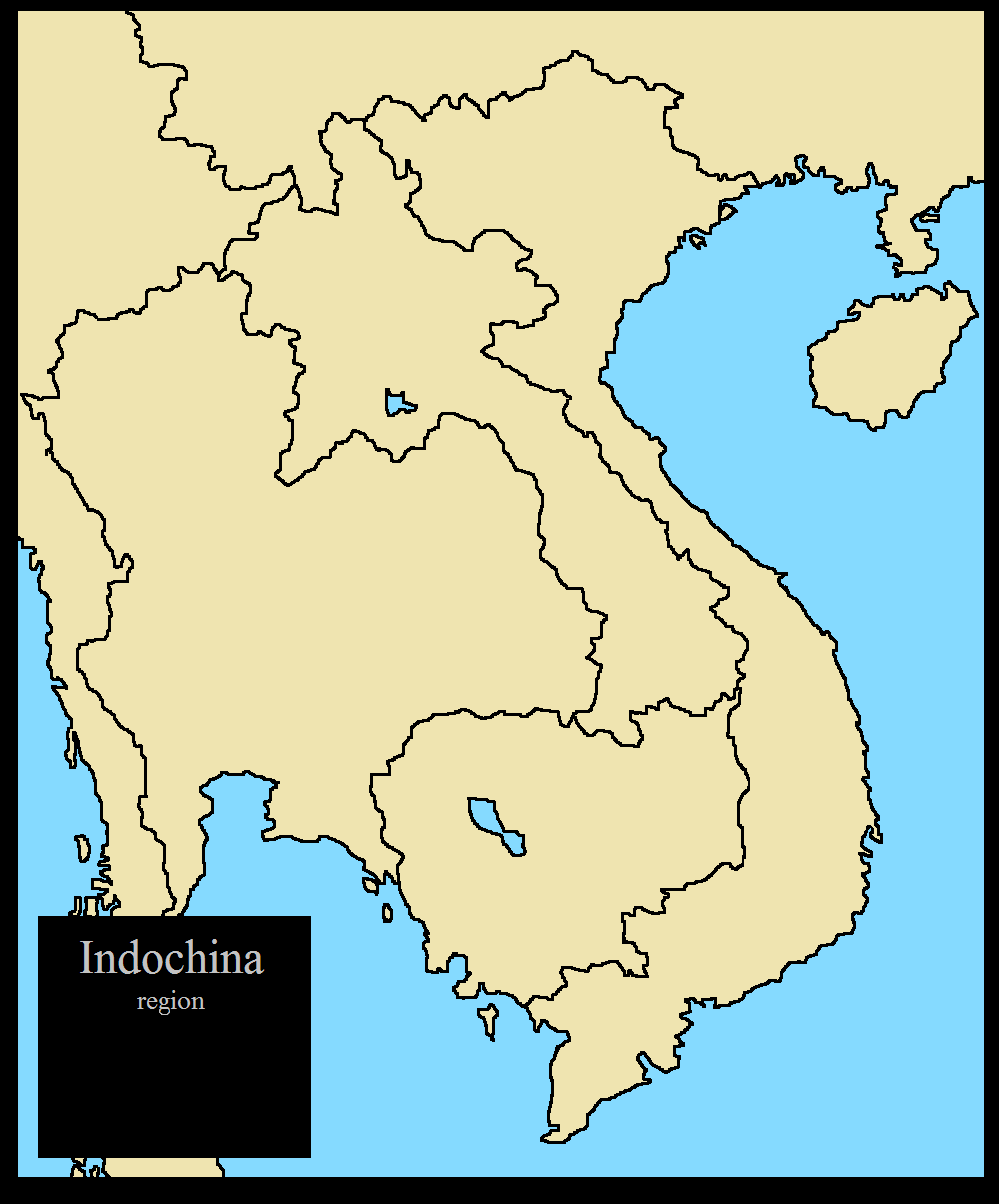 Blank map of Indochina region, (modern borders) by ... on sumatra map, taiwan map, manchuria map, south america map, malay peninsula map, cambodia map, vietnam map, indonesia map, malay archipelago map, west africa map, irrawaddy river map, philippines map, ottoman empire map, indian ocean map, world map, china map, burma map, java map, thailand map, asia map,