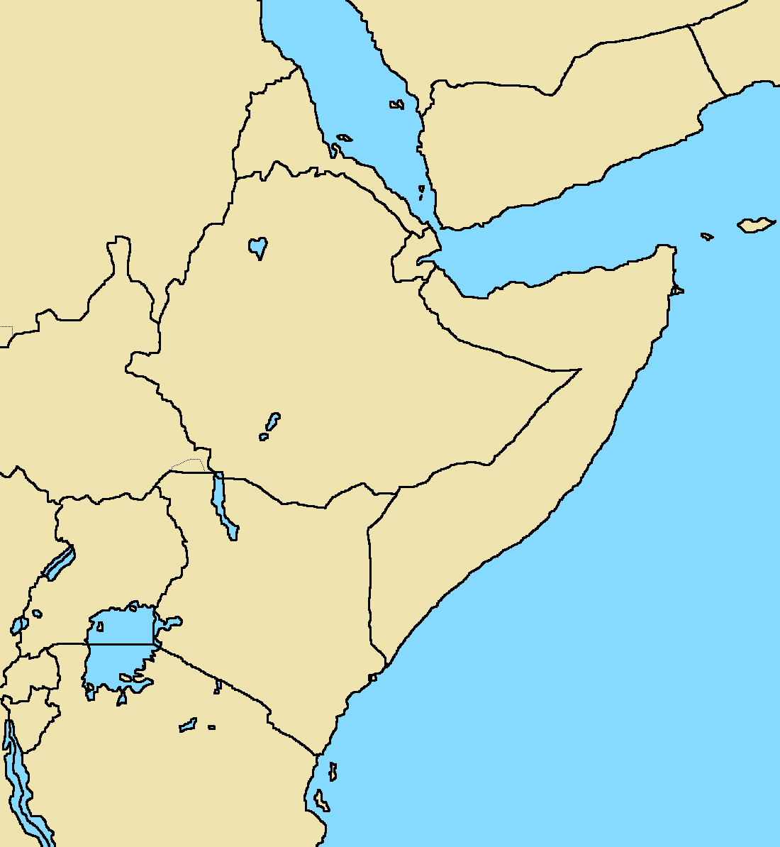 Blank map of African horn with modern borders by