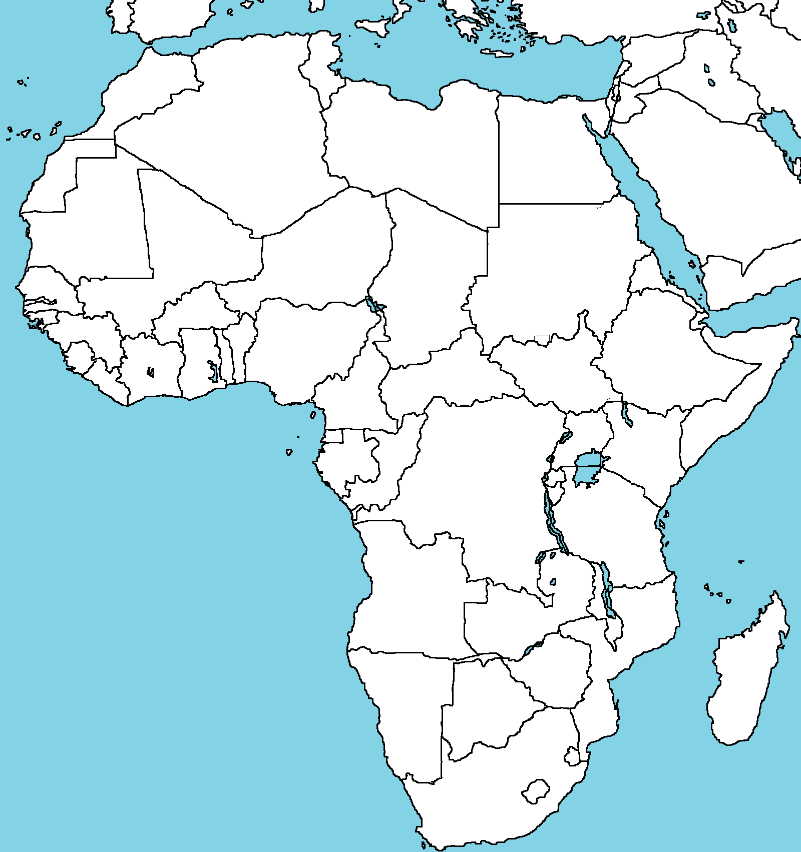 africa map blank political