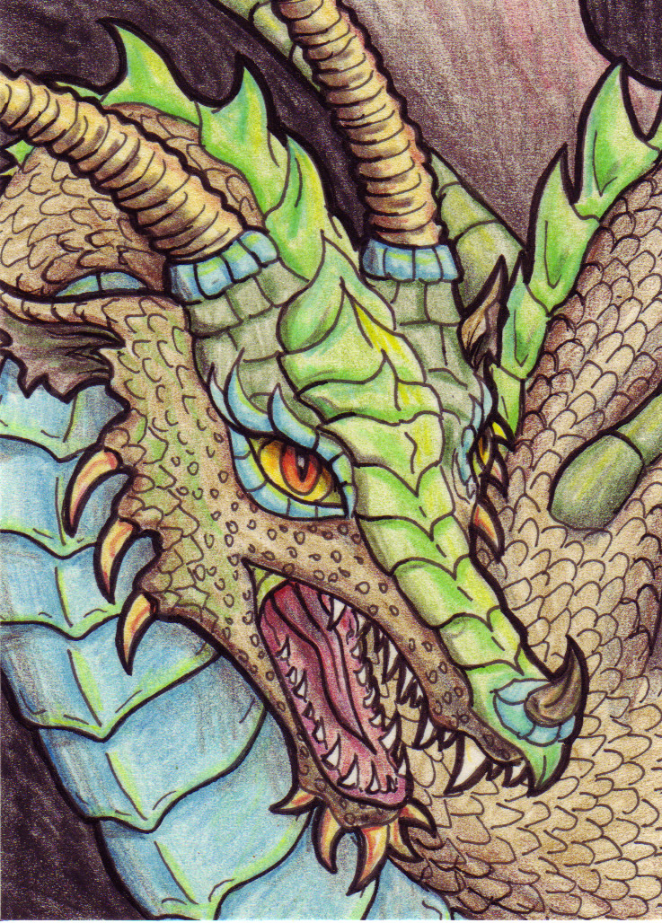 Turquoise and Bronze Dragon by TabLynn