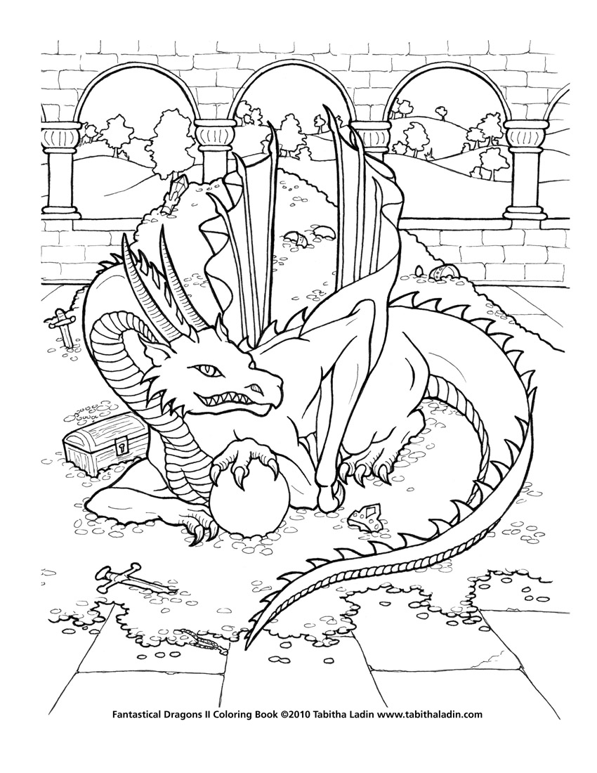 treasure dragon coloring page by tablynn on deviantart