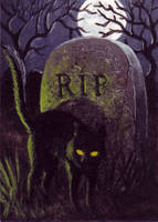 Grave Cat ATC by EquusTenebriss