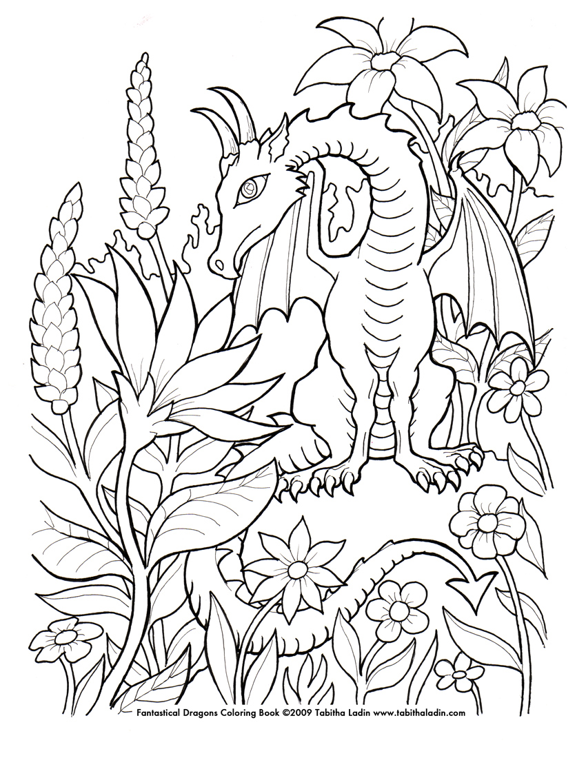Flower dragon coloring page by tablynn on deviantart for Adult coloring pages dragons