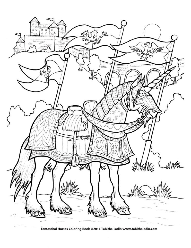 battle unicorn coloring page by tablynn on deviantart