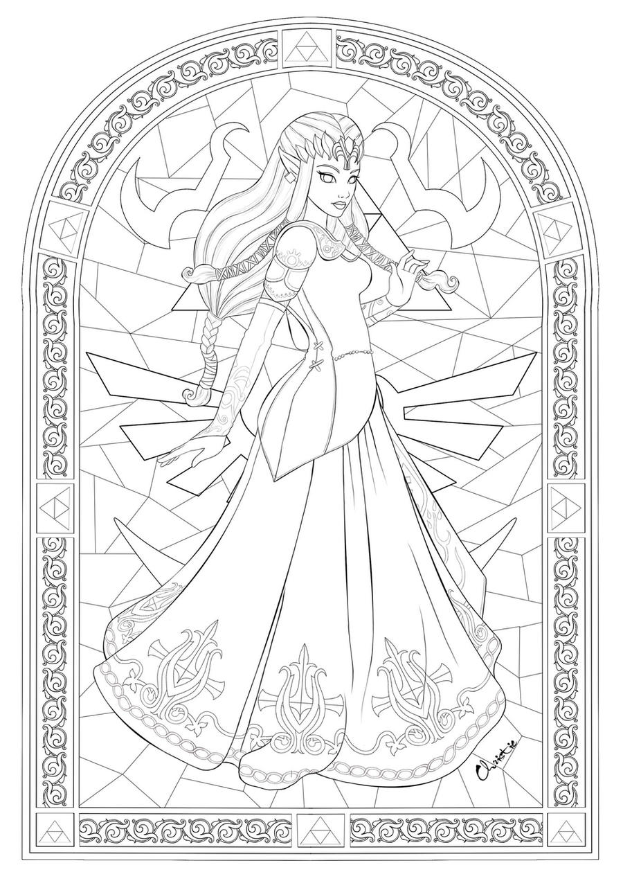 Princess zelda by tesiangirl on deviantart for Zelda coloring page