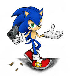 Sonic with a gun by rubbe