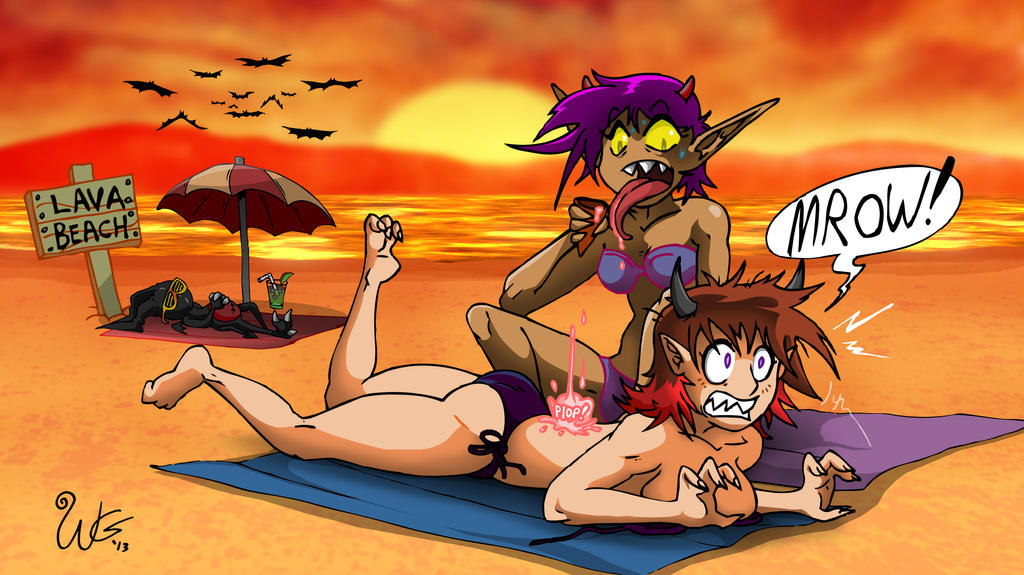 At the Beach (Kitty and Kerry) by skull-boy666