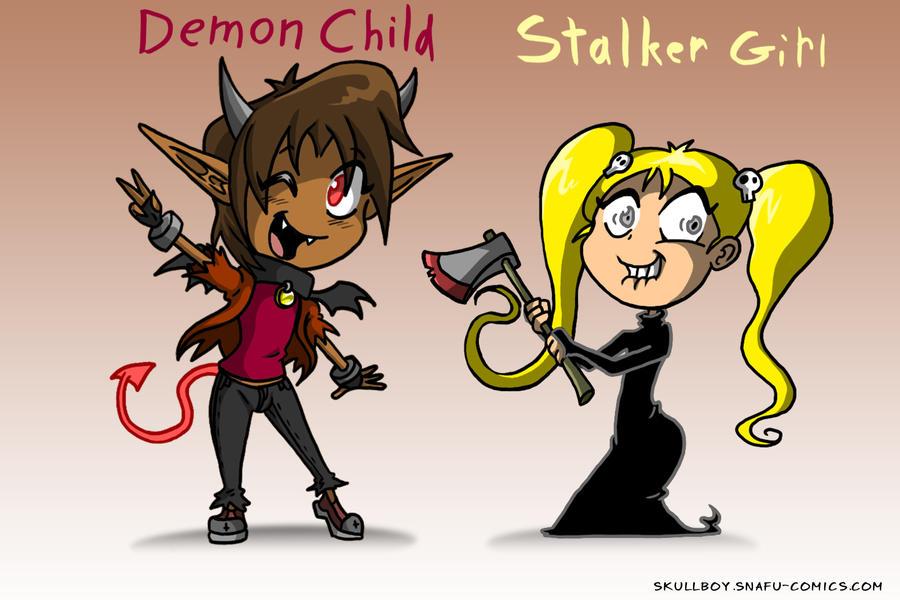 Demon Child, Stalker Girl - CARD by skull-boy666