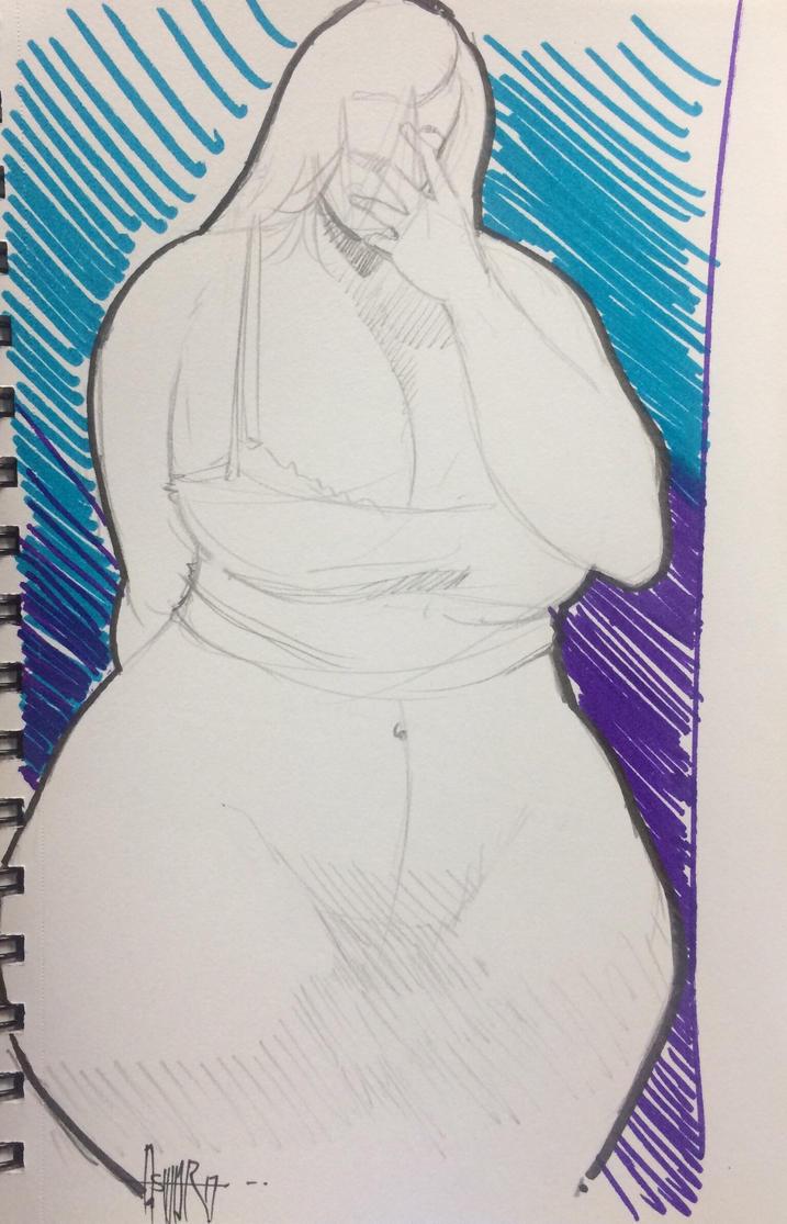 Big woman sketch selfie by norberthor