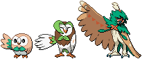 Rowlet, Dartrix, and Decidueye Sprites