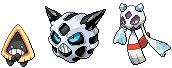 Snorunt, Glalie, and Froslass Sprites by conyjams