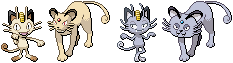 Meowth and Persian Sprites by conyjams