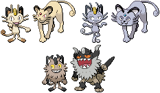 Meowth, Persian, and Perrserker Sprites