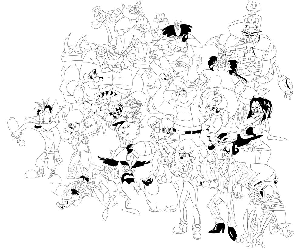 Crash Team Racing group ink by tveye363