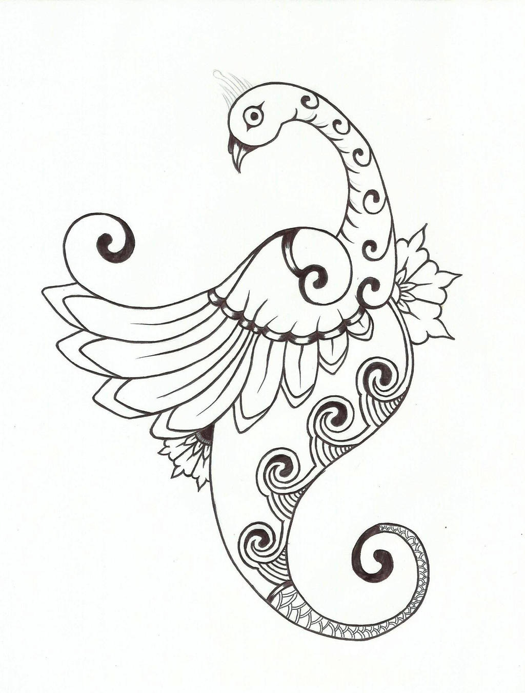 Henna Design Line Art : Mehndi type peacock design by chrismetalfreak on deviantart