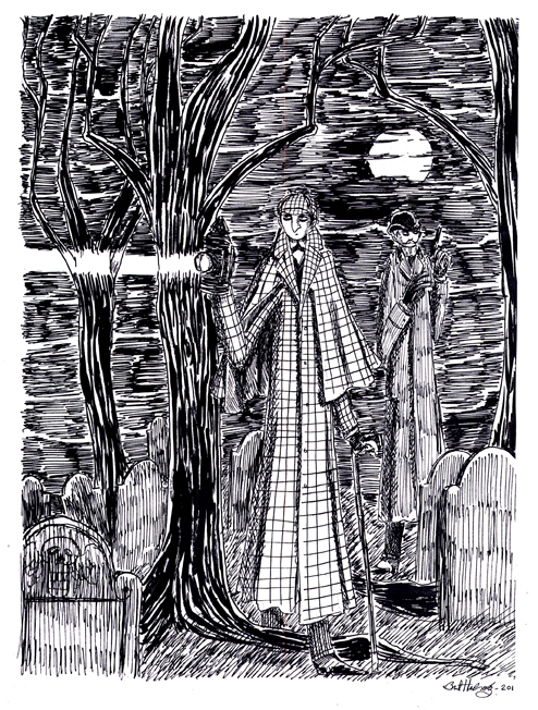 Holmes on the Hunt 14x17 Pen and Ink Artwork by herbertzohl