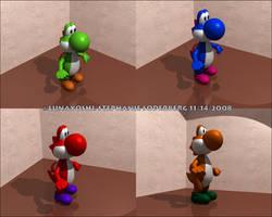 Yoshi renders by LuLuLunaBuna