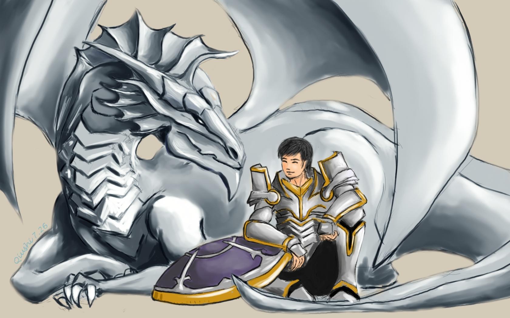 dragon and knight of shield by qiushifu on DeviantArt