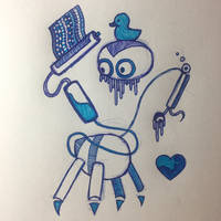 Blue Robot Sketch by flaahgra012