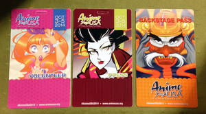 AnimeUSA 2014 - Badge Designs by geeksnextdoor