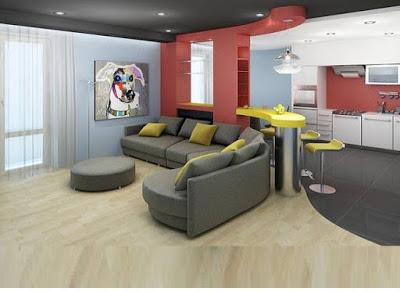 Modern Small Open Plan Kitchen Living Room Design By Gamilaalex20 On Deviantart