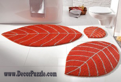 Modern Bathroom Rug Sets Orange Bath