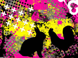Bunny and Rooster Wallpaper by ghoulskout